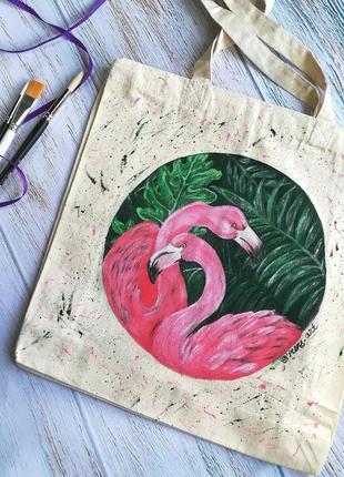 Сумка шопер с фламинго