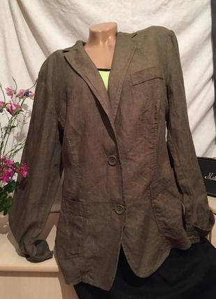 Шикарный льняной жакет /пиджак лён большого размера
