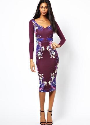 Распродажа платье asos с вырезом сердечком и зеркальным цветочным принтом