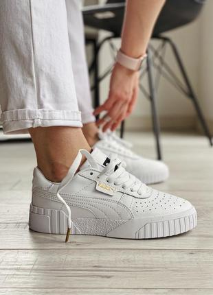 Женская шикарные кроссовки puma cali white / кожаные белые кеды пума