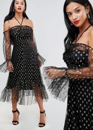Распродажа! платье john zack миди с открытыми плечами и принтом звезд c asos