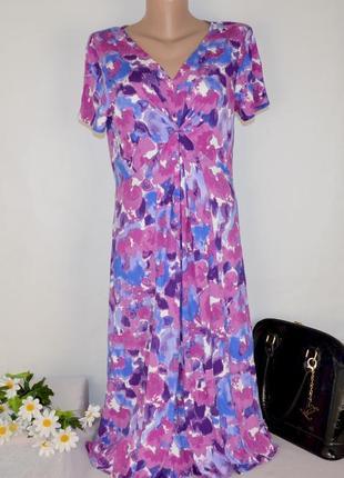 Брендовое нарядное макси платье bm collection вискоза принт абстракция