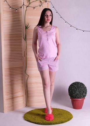 Трикотажная женская пижама майка с шортами