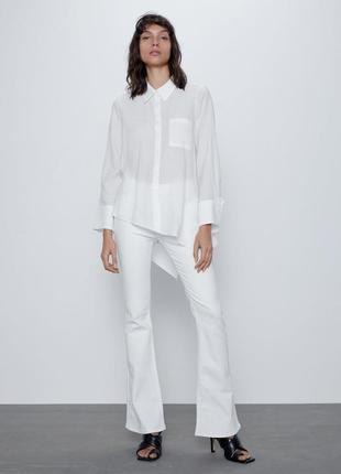 Новинка!белая рубашка асимметричного кроя из рельефной ткани удлиненная