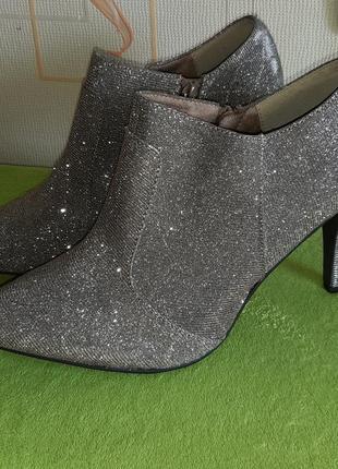 Яркие блестящие туфли ботильоны only pink, 40 р.