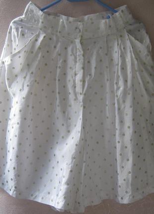 Неординарная  юбка-шорты в золотистый горох фирменная