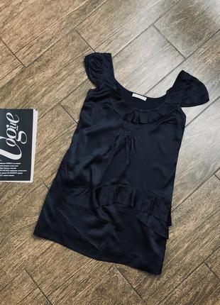 Красивая летняя атласная черная брендовая блуза