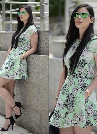 Платье с пуговицами пышное в тропический цветочный принт юбка солнце