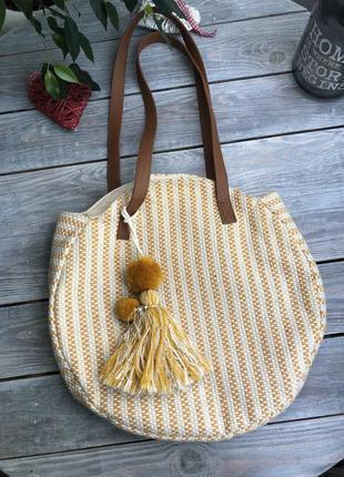Удобная плетённая летняя сумка на плечо