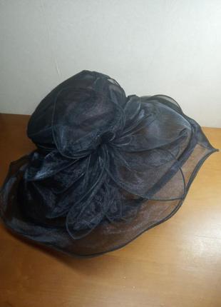 Шикарная воздушная шляпа из органзы с большими полями