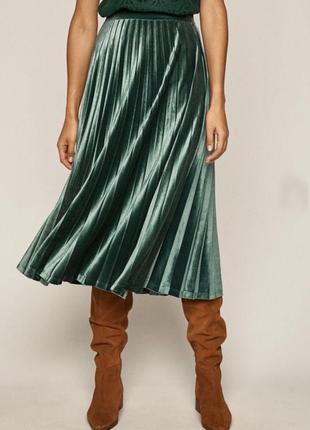 Бархатная плиссированая юбка