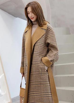 Двубортное длинное oversize пальто в гусиные лапки двустороннее прямое