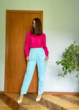 Винтажные бирюзово-голубые брюки со стрелками
