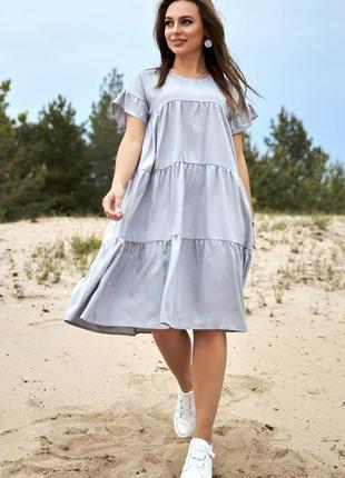 Шикарное летнее платье свободного кроя лён