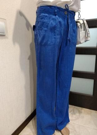Шикарные яркие льняные брюки штаны прямого покроя2 фото