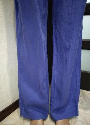 Шикарные яркие льняные брюки штаны прямого покроя3 фото