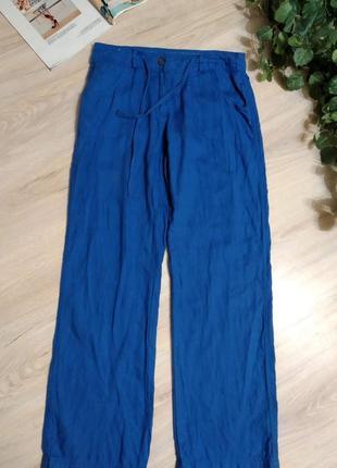 Шикарные яркие льняные брюки штаны прямого покроя4 фото