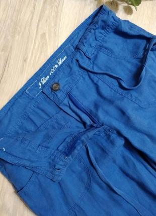 Шикарные яркие льняные брюки штаны прямого покроя5 фото