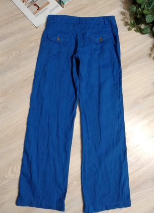 Шикарные яркие льняные брюки штаны прямого покроя7 фото