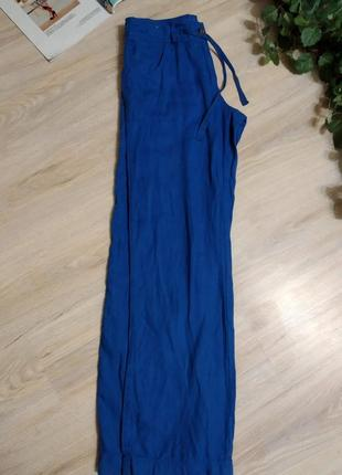 Шикарные яркие льняные брюки штаны прямого покроя8 фото