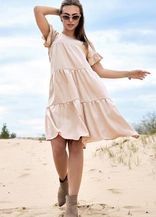 Нежное летнее платье свободного кроя лён