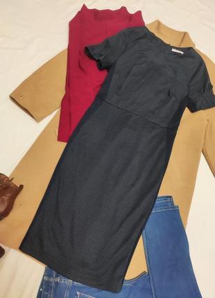 Платье футляр карандаш синее в белый горошек миди классическое tu