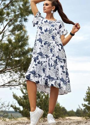 Роскошное летнее платье свободного кроя лён