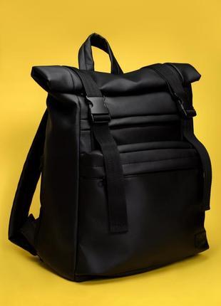 Вместительный женский черный рюкзак ролл для ноутбука
