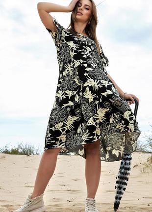 Воздушное летнее платье свободного кроя лён