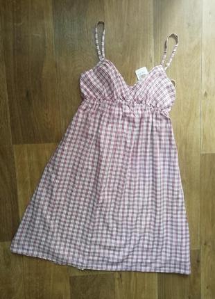 Сарафан в клетку, котоновый сарафанчик, плаття, платье, сукня
