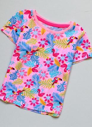 Matalan. классная футболка с попугаями. 9-12 мес. рост 74-80 см. хлопок