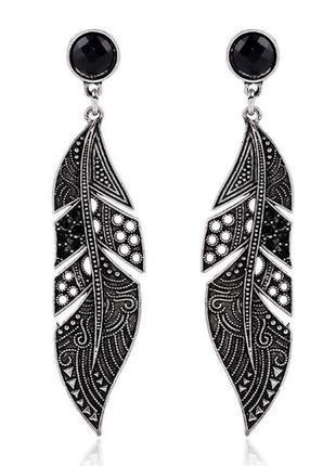 Крутые серьги гвоздики перья в стиле бохо перо серёжки сережки