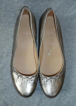 Туфли балетки женские кожаные серебристого цвета 39,5 р.