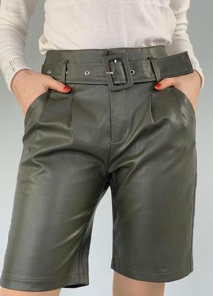 Шорты из эко кожи кожаные шорты из кожзама цвет хаки