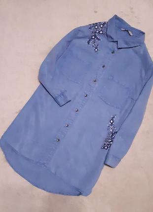 Джинсовая лёгкая рубашка лиоцелл с вышивкой размер 10 tu