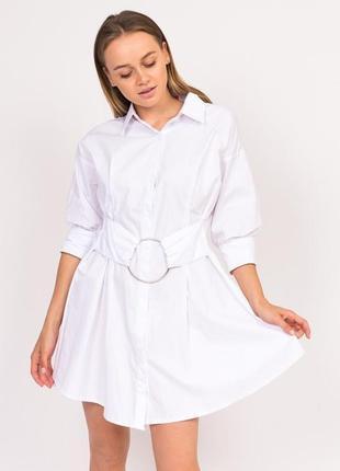 Платье рубашка с кольцом на поясе
