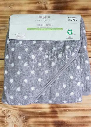 """Махровое полотенце-уголок для малыша """"горошек"""""""