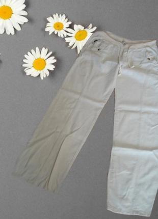 🐞🐞50 % лен + 50 хлопок летние женские брюки св. беж на резинке 🐞🐞🐞