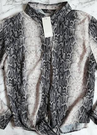 Рубашка блуза в змеиный принт завязка спереди с биркой