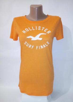 Оранжевая оригинальная футболка hollister s