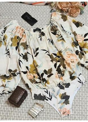 Блуза боди zara с пышным рукавом/комбидресс/цветочный принт