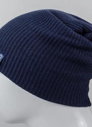 Шапка мужская удлиненная 56 - 59 синий