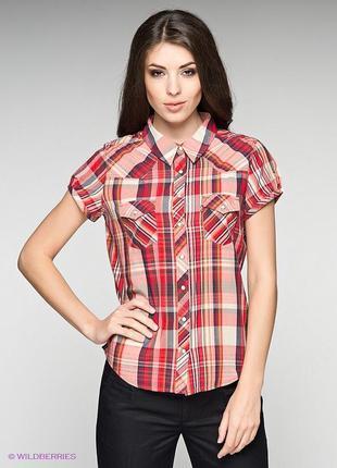 Оригинальная блуза в клетку с поясом atmosphere