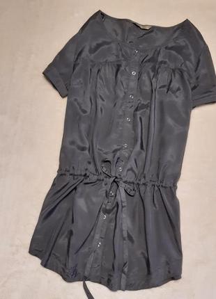 Рубашка короткий рукав пояс завязки струящаяся ткань вискоза размер 16 tu
