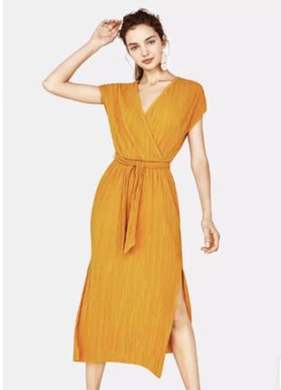 Платье сарафан на запах плиссе плиссированное с вырезами миди3 фото