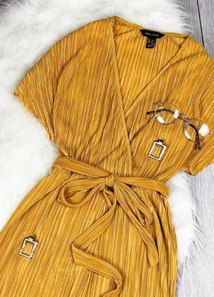 Платье сарафан на запах плиссе плиссированное с вырезами миди4 фото
