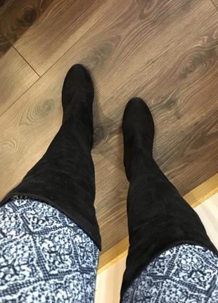 Ботфорты сапоги низкий каблук