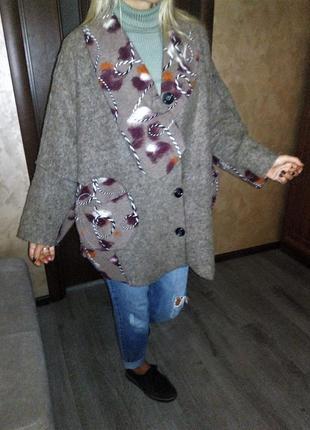 Италия 🇮🇹 оверсайз тренч полу пальто кардиган кофта из валяной шерсти, lana wooll