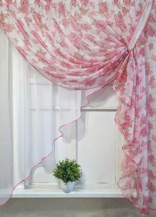 """Занавесочка """"розовый букет"""" арка"""