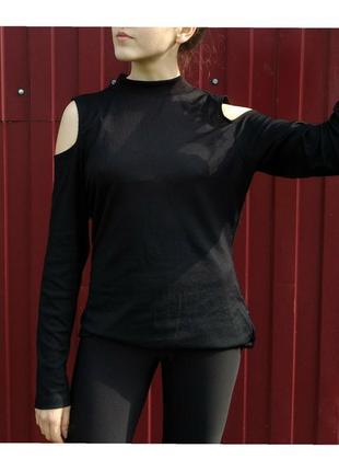 Черная водолазка с открытыми плечами  ❤️ черная кофта ❤️ кофта в рубчик ❤️